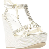 Metallic Braided Faux Leather Wedge Sandals