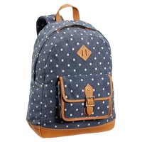 Northfield Washed Navy Dot Canvas Backpack