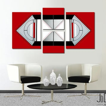 Made to order. Original abstract painting. 4 piece canvas art. Large abstract painting Geometric. Red painting. Modern wall art. Fine art