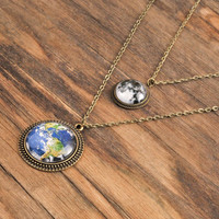 Solar system necklace, full moon pendant, earth pendant, solar system pendant, antique brass pendant, resin pendant, glass dome pendant