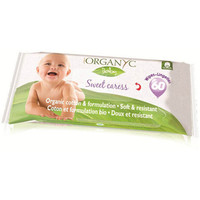 Organyc Baby Wipes - 100 Percent Organic Cotton - Sweet Caress - 60 Count