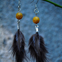 Tangerine Baby Feather Earrings