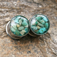 Turquoise Plugs made with real turquoise chips custom size 00g, 7/16g, 1/2g, 9/16g, 5/8, 3/4g, 7/8g, 1""