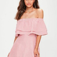 Missguided - Red Striped Layered Frill Shift Dress