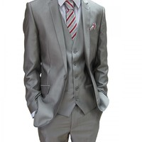 Mens Shiny Silver Grey/Champagne Three Piece Suit (NX6)