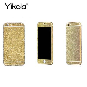For iPhone 7 8 X 10 6 6S plus Bling Glitter Phone Protective Sticker Bling 360 Degree Full Body Decal Skin Wrap Phone Case Cover