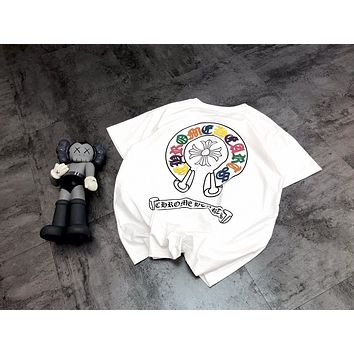 """Chrome Hearts"" Unisex Personality Horseshoe Multicolor Print Cowhide Sanskrit Embroidery Couple Short Sleeve All-match T-shirt Top Tee"
