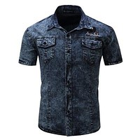 New Brand Men Shirt Short Sleeve Denim Shirt  Mens Casual Dress Male Jean Shirts High Quality 100% Cotton