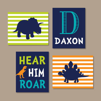 Dinosaur Wall Art Dinosaur Decor Boy Nursery Wall Art Dino Theme Big Boy Bedroom Hear Him Roar Initial Name Set of 4 Prints Or Canvas
