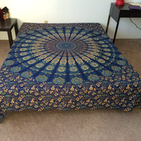 HOUSEWARMING GIFT VALENTINE'S day Gift  Mandala Fringed Tapestry Indian Bedding Bedspread