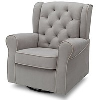 Delta Furniture Emerson Upholstered Glider Swivel Rocker Chair, Dove Grey with Soft Grey Welt