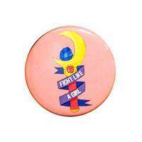 sailor moon pin | fight like a girl | 2.25 inch pin back button