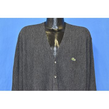 80s Izod Lacoste Dark Gray Charcoal Cardigan Sweater Large
