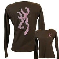 Browning Women's RT AP Pink Camo Buckmark Classic Long Sleeve T-Shirt