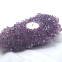 """Amethyst Candle Holder / 3lbs 6oz 8X5X2.5"""" / Tealight / Space Clearing / Folklore Protection Immunity Transformation / Meditation Reiki Tool"""