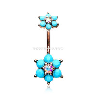 Rose Gold Turquoise Flower Sparkle Prong Set Belly Button Ring (Aurora Borealis/Turquoise)