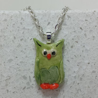 Green Owl Pendant Hand painted pottery pendant