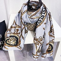 VERSACE Popular Woman Silk Sunscreen Cape Scarf Scarves Shawl Accessories Light Blue