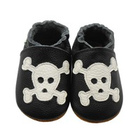 Genuine Leather Skull Baby Goth Moccasins Newborn Infant Shoes