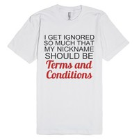 Terms And Conditions-Unisex White T-Shirt