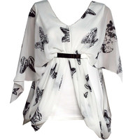 WOMENS LADIES PLUS SIZE SMART EVENING CASUAL BLOUSE TOP OFFICE BUTTERFLY