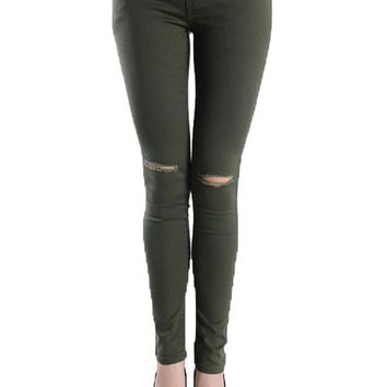 Colored Cut Skinny Fit Jeans