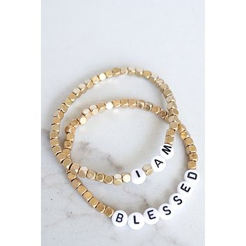 I Am Blessed Beaded Bracelets Set in Gold Tone