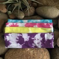 Tie dye headband - Fitness - hand dyed - Running - Softball Headband- Purple- Gypsy- Stocking Suffers - bohemian headband - You Pick Color