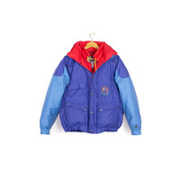 90s colorblock down jacket - vintage 1990s brambilla france - primary colors - puffer coat - blue & red