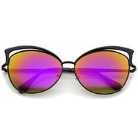Women's Laser Cut Mirror Lens Cat Eye Sunglasses A447