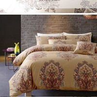 CHAUSUB Europe Gold Duvet Cover Set 4PCS Satin Cotton Bedding Set Soft Silky quilt Cover Bed Sheets Pillow Case King Queen Size