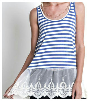 Lace Trim Striped Tank