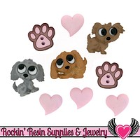 Jesse James Buttons 9 pc PUPPY LOVE OR Turn them Into Flatback Cabochons