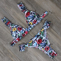 Flower Printed Bandage Bikini Sets
