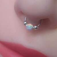 Fake septum ring with opal /septum/handmade fake septum/ fake piercing/fake ring nose/fake piercing/fake nose ring/non pierced/septum