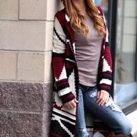 Wrap Me Up Long Aztec Hooded Cardigan (Wine)