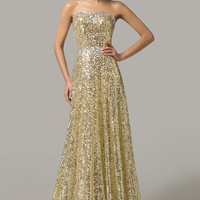 Golden Strapless Sequined Maxi Evening Dress