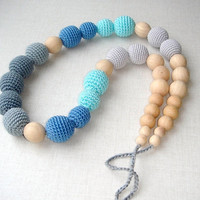 Gradation Grey Blue Nursing necklace Teething necklace Necklace for new mommy Crochet bead  Organic Eco friendly Safe Jewelry