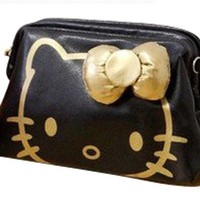 Beautiful Hello Kitty Style Cosmetic Bag/Make-up Bag/Cosmetic Tote Bag(Black and Gold)