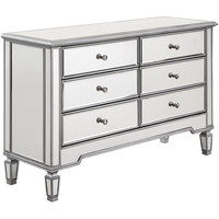 "Chamberlan 48""x18""x32"" 6-Drawer Mirrored Dresser, Silver"