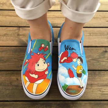 Wen Hand Painted Canvas Sneakers Design Custom Anime Ponyo Men Women's Slip On Shoes for Christmas Birthday Gifts