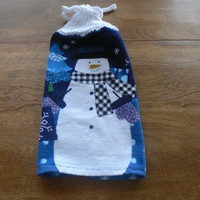 Handsome Hanging Snowman Dish Towel With Hand Knit Topper and Ties