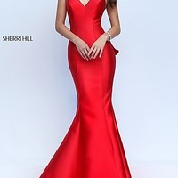 V-Neck Mermaid Sherri Hill Prom Dress with Cut Out Back