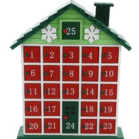 "GREEN RUSTIC CABIN ADVENT WOODEN CALENDAR COUNTDOWN TO CHRISTMAS INTERACTIVE HOLIDAY CALENDAR HOME DÉCOR 12"" X 10"""