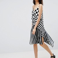 ASOS Slip Dress in Mixed Stripe and Check Print at asos.com