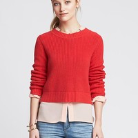 Banana Republic Womens Shaker Stitch Cropped Pullover
