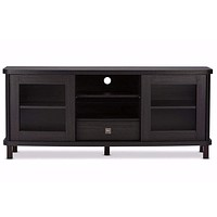 Walda 60-Inch Dark Brown Wood TV Cabinet with 2 Sliding Doors and 1 Drawer By Baxton Studio