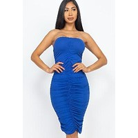 Ruched Mini Strapless  Bodycon Dress