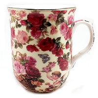 Cherub Chintz Coffee Mug Cup Formalities Floral Roses Pink Red Gold Angel k507