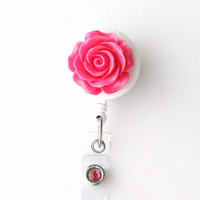 Rosebud - ID Badge Holder - Flower Badge Reels - Designer ID Reel - Nurse Gifts - Pretty Name Badge Clips - BadgeBlooms